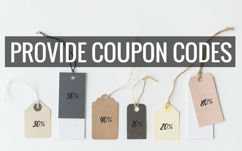 Provide coupon codes