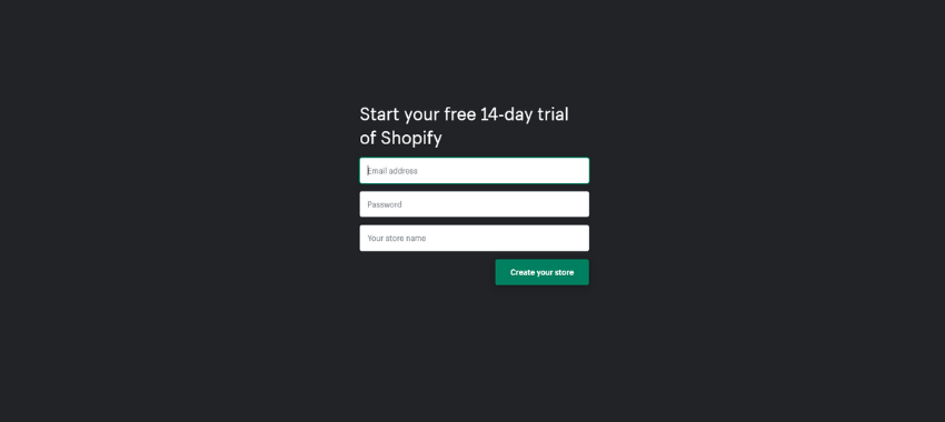 Start your 14-day trial for free and start selling on Shopify