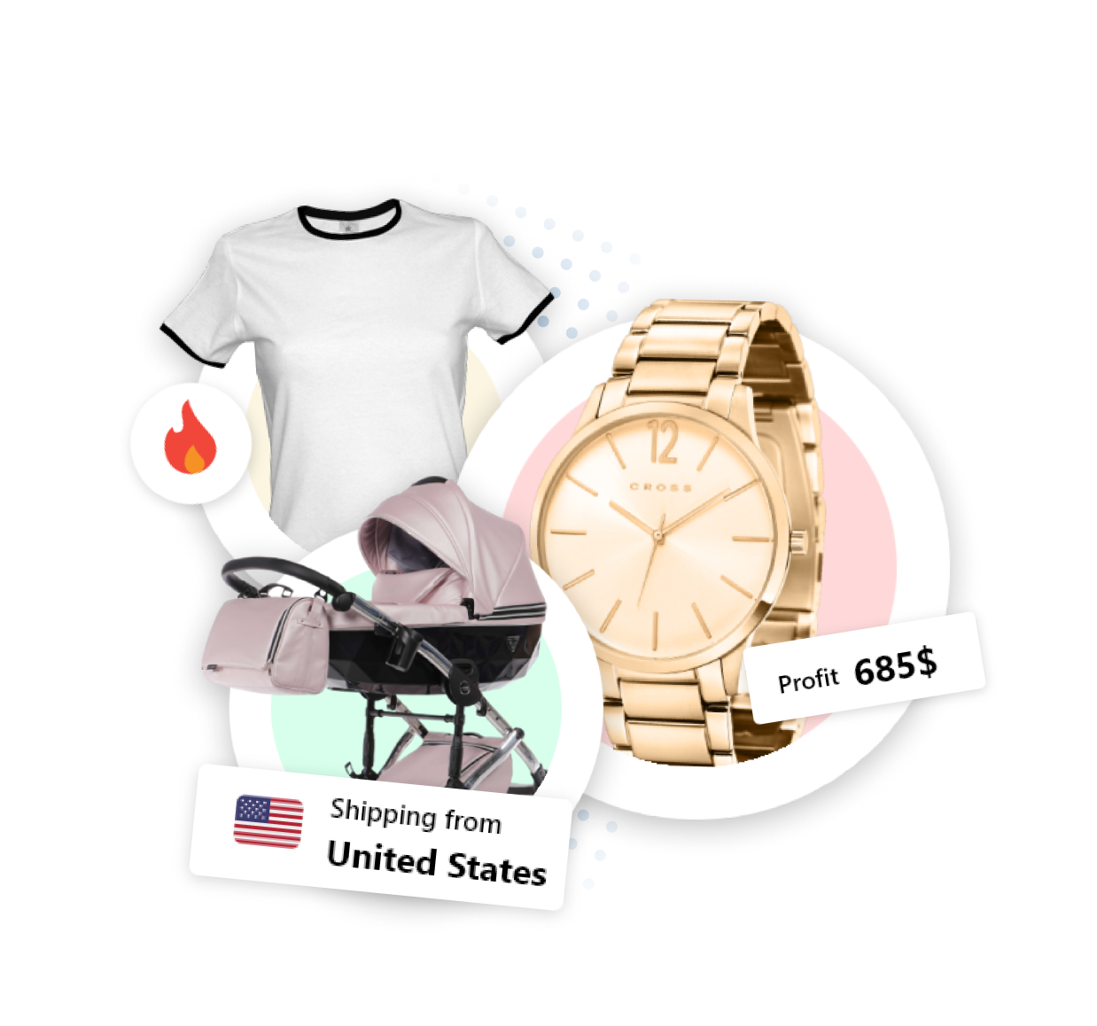 t-shirt et montres du marché