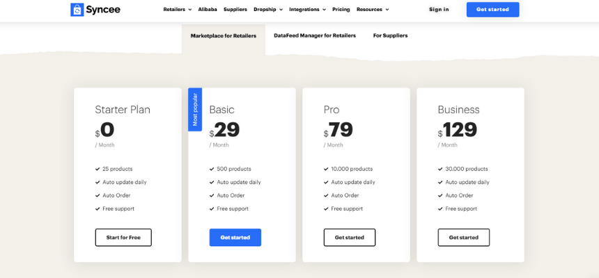 Syncee prices to start a BigCommerce dropshipping store