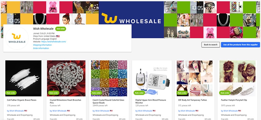 Dropship Wish Wholesale Products with Syncee